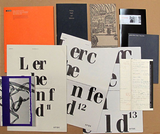 Bücher und Hefte aus dem material-Verlag der HfbK Hamburg